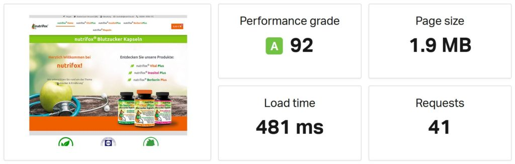 Nutrifox Pagespeed